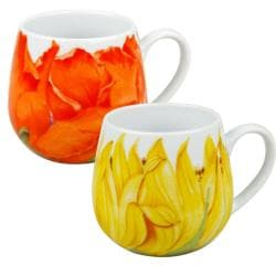 Konitz Poppy and Sunflower Blossoms Snuggle Mugs (Set of 2)