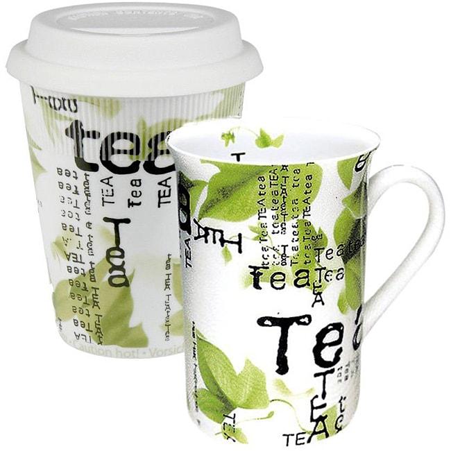Konitz Tea to Stay and Tea to Go Tea Collage Mugs (Set of 2)