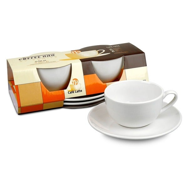 Konitz Coffee Bar White Mugs/ Saucers (Set of 2)