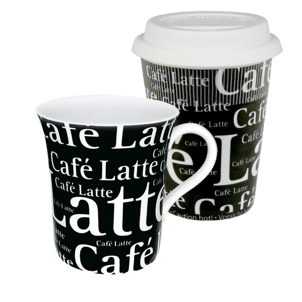 Konitz Black Coffee to Stay/ Coffee to Go Cafe Latte Writing Mugs (Set of 2)