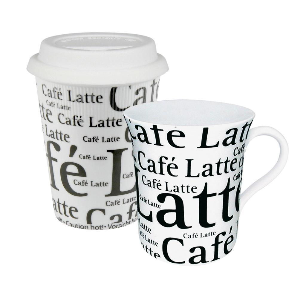 Konitz White Coffee to Stay/Coffee to Go Cafe Latte Writing Mug (Set of 2)