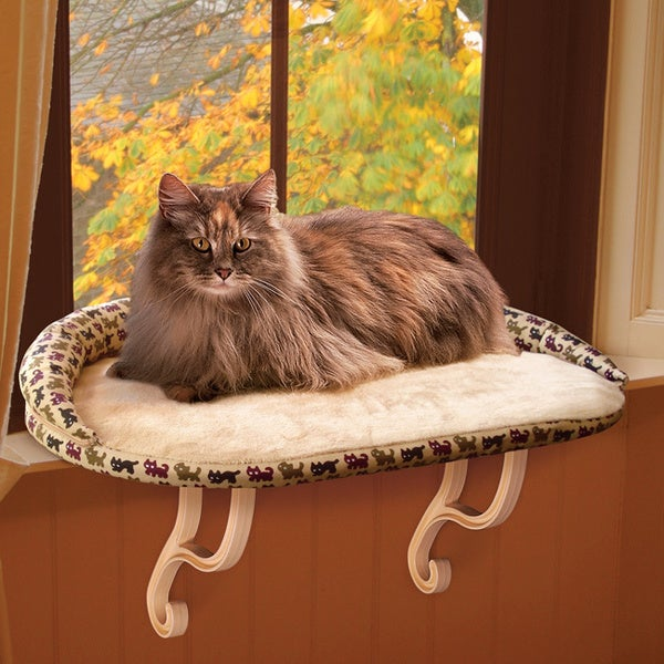 Shop K Amp H Deluxe Tan Kitty Print Kitty Sill Free Shipping
