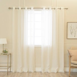 Aurora Home Faux Linen Grommet 84-inch Curtains