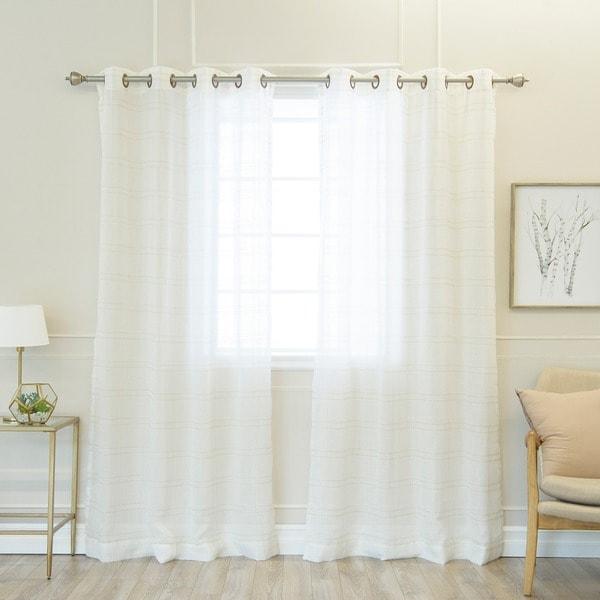 Aurora Home Faux Linen Grommet 84-inch Curtain Panel Pair - 50 x 84 - 50 x 84. Opens flyout.
