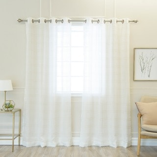 Aurora Home Faux Linen Grommet 84-inch Curtain Panel Pair
