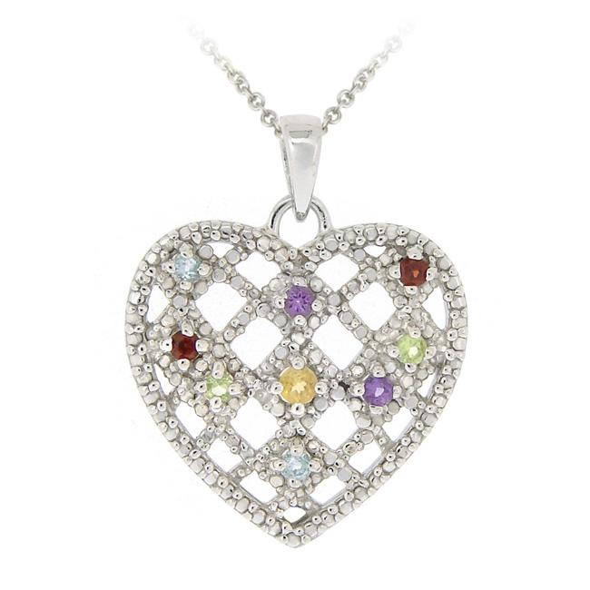 Glitzy Rocks Sterling Silver Multi-gemstone and Diamond Heart Necklace