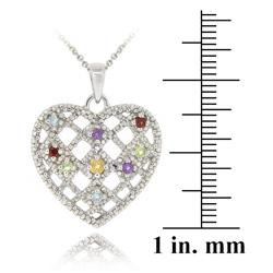 Glitzy Rocks Sterling Silver Multi-gemstone and Diamond Heart Necklace - Thumbnail 2