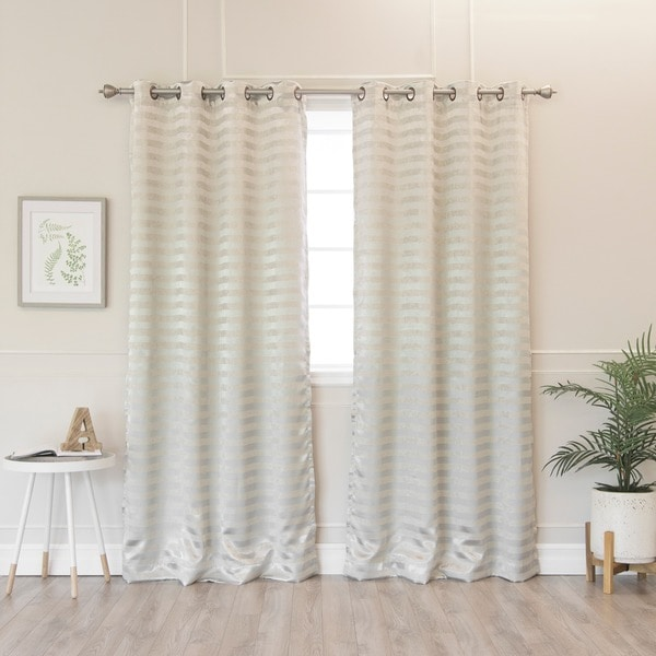 Aurora Home Satin and Suede Stripe Grommet 84-inch Curtain Panel Pair - 48 x 84