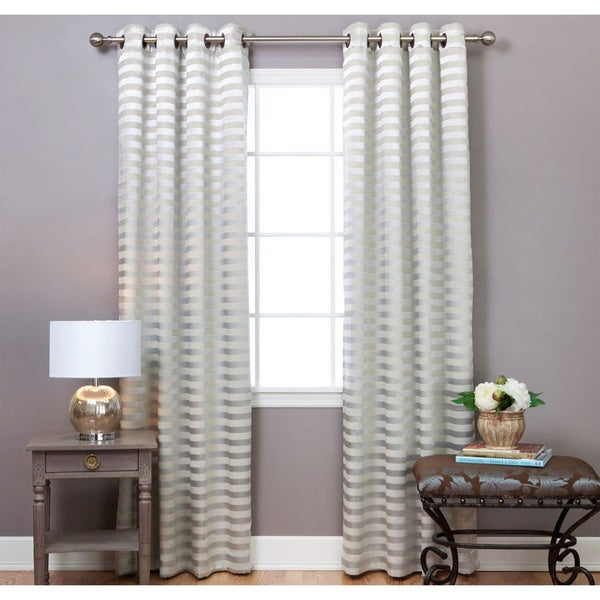 Aurora Home Satin and Suede Stripe Grommet 84-inch Curtain Panel Pair