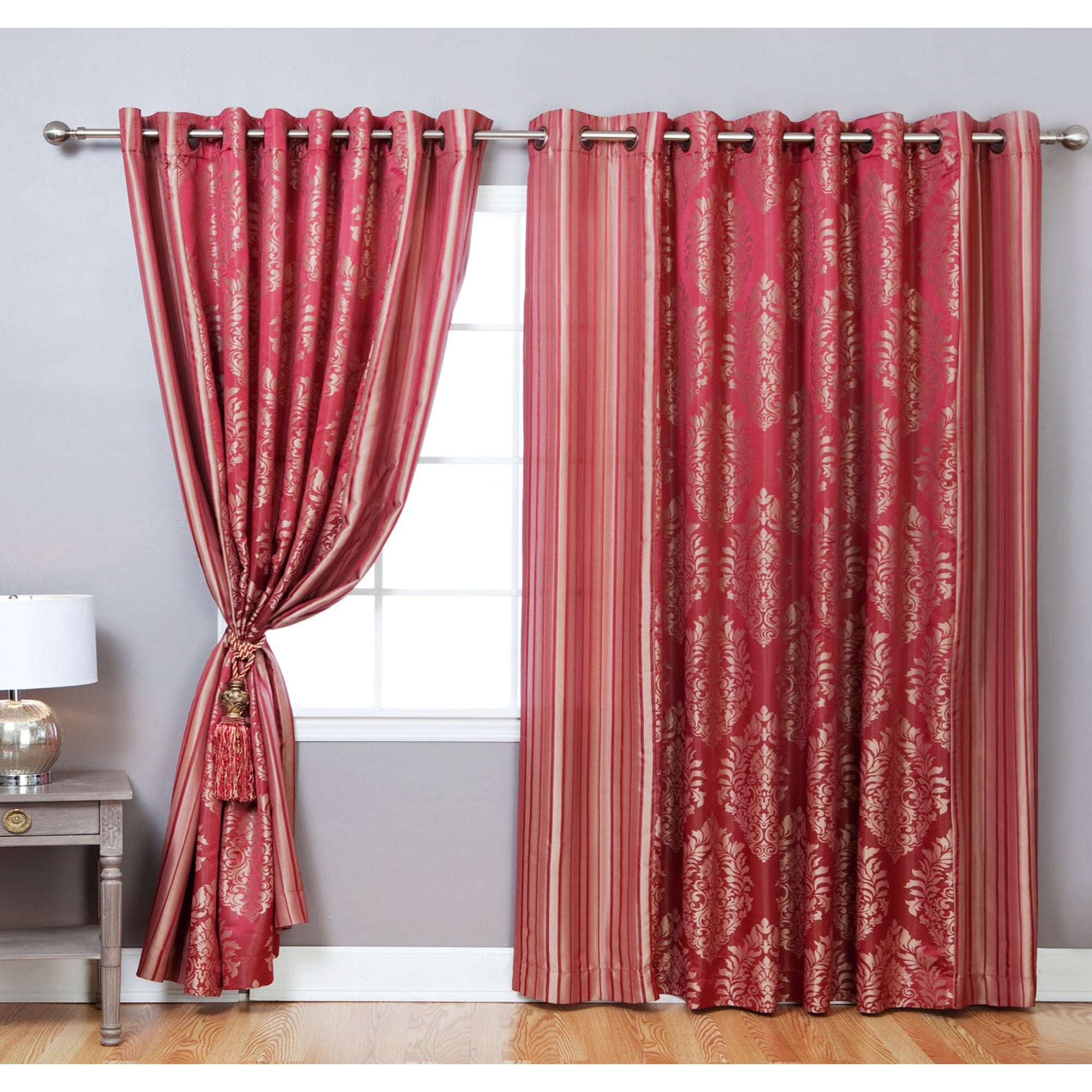 aurora home wide width damask jacquard grommet 84 inch. Black Bedroom Furniture Sets. Home Design Ideas