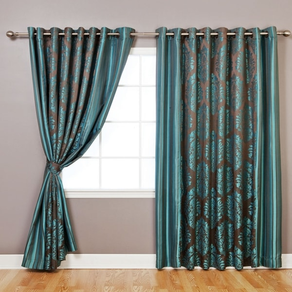 Aurora Home Wide Width Damask Jacquard Grommet Curtain Panel Pair - 90 x 84