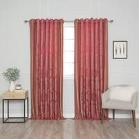 Aurora Home Wide Width Damask Jacquard Grommet Curtain Panel Pair - 90 x 84