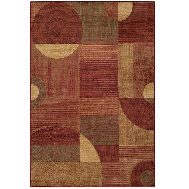 Illusion Power-loomed Red Rug (9'3 x 12'6)