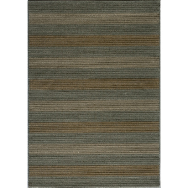 Illusion Power-loomed Stripe Blue Rug (2' x 3')