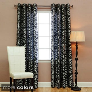 Aurora Home Zebra Jacquard Grommet 84-inch Room Darkening Curtain Pair