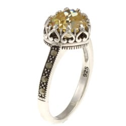 MARC Sterling Silver Canary Cubic Zirconia and Marcasite Heart Ring