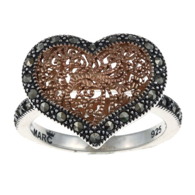 MARC 14k Rose Gold over Sterling Silver Marcasite Filigree Heart Ring - Grey