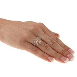 MARC 14k Rose Gold over Sterling Silver Marcasite Filigree Heart Ring - Grey - Thumbnail 2