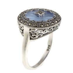 MARC Sterling Silver Sapphire Sunray Crystal and Marcasite Ring - Thumbnail 1