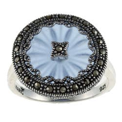 MARC Sterling Silver Sapphire Sunray Crystal and Marcasite Ring|https://ak1.ostkcdn.com/images/products/5918275/Sterling-Silver-Blue-Sunray-Crystal-and-Marcasite-Ring-P13620909.jpg?impolicy=medium