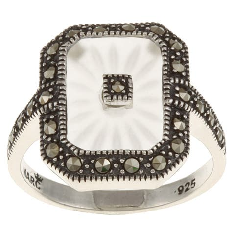 MARC Sterling Silver White Sunray Crystal & Marcasite Retangular Ring