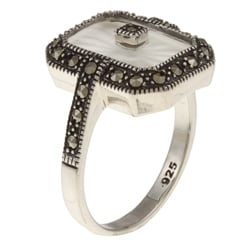 MARC Sterling Silver White Sunray Crystal and Marcasite Retangular Ring - Thumbnail 1