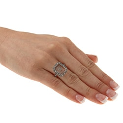 MARC Sterling Silver White Sunray Crystal and Marcasite Retangular Ring - Thumbnail 2