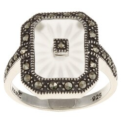 MARC Sterling Silver White Sunray Crystal and Marcasite Retangular Ring (3 options available)