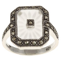 MARC Sterling Silver White Sunray Crystal and Marcasite Retangular Ring