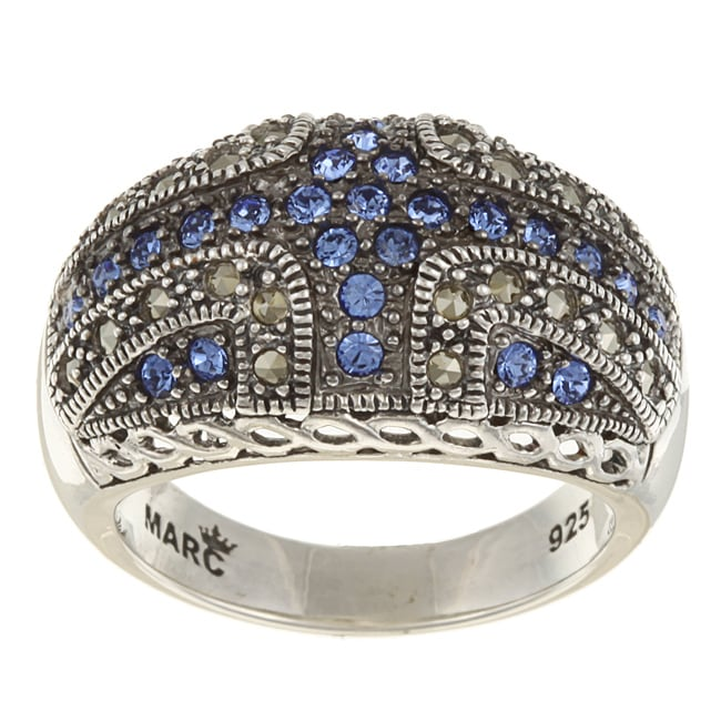 MARC Sterling Silver Sapphire Crystal and Marcasite Domed Ring