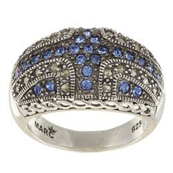 MARC Sterling Silver Sapphire Crystal and Marcasite Domed Ring|https://ak1.ostkcdn.com/images/products/5918289/Sterling-Silver-Blue-Crystal-and-Marcasite-Domed-Ring-P13620912.jpg?impolicy=medium