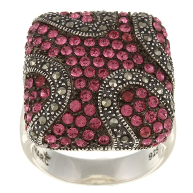 MARC Sterling Silver Pink Crystal and Marcasite Cocktail Ring