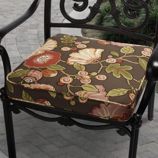 Kate Brown Floral Outdoor Cushion with P. Kaufmann Fabric