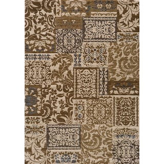 Illusion Power-loomed Damask Ivory Rug (9'3 x 12'6)