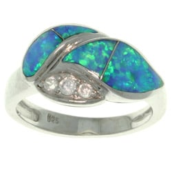 Carolina Glamour Collection Sterling Silver Created Opal and Cubic Zirconia Laurel Leaf Ring