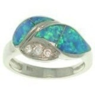 Sterling Silver Created Opal and Cubic Zirconia Laurel Leaf Ring