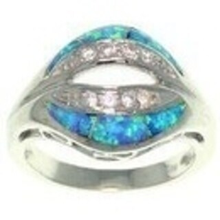 Sterling Silver Created Opal and Cubic Zirconia Sculpted Kiss Ring
