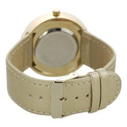 Geneva Platinum Women's Gold Simulated Patent Leather Watch - Thumbnail 1