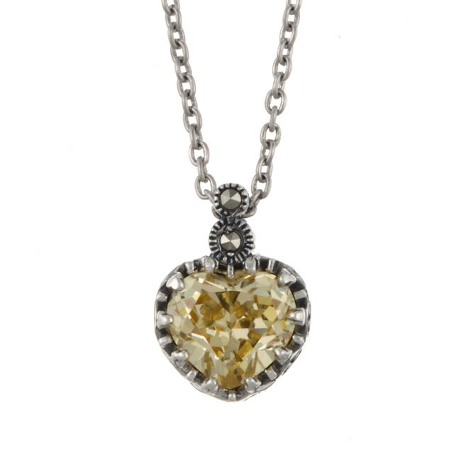 MARC Sterling Silver Canary Cubic Zirconia and Marcasite Heart Necklace