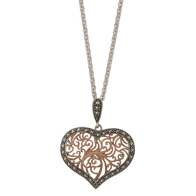 Marc 14k rose gold over sterling silver marcasite filigree heart marc 14k rose gold over sterling silver marcasite filigree heart necklace mozeypictures Image collections