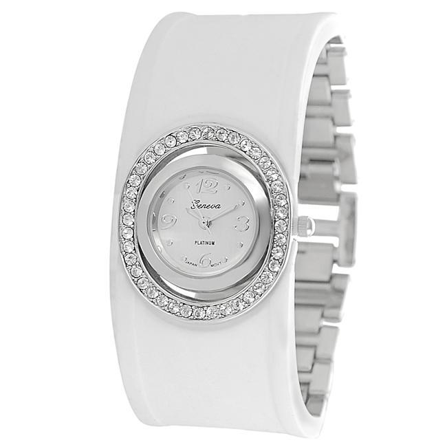 Geneva Platinum Women's Rhinestone-accented Silicone Link Watch