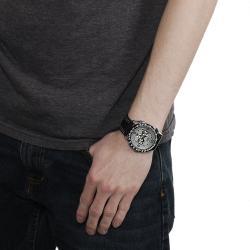 Geneva Platinum Men's Chronograph-style Genuine Leather Watch - Thumbnail 2