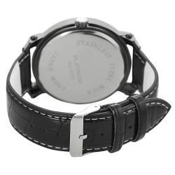 Geneva Platinum Men's Rhinestone-accented Genuine Leather Watch - Thumbnail 1