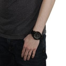 Geneva Platinum Men's Rhinestone-accented Genuine Leather Watch - Thumbnail 2