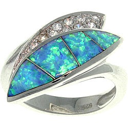Carolina Glamour Collection Sterling Silver Created Opal and Cubic Zirconia Luxe Leaf Ring