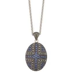 MARC Sterling Silver Sapphire Sunray Crystal and Marcasite Oval Necklace
