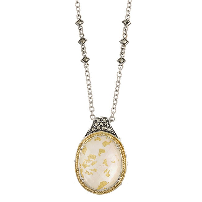 MARC 14K Yellow Gold Flashing Edge over Sterling Silver Crystal Gold Leaf Mother of Pearl Doublet and Marcasite Necklace