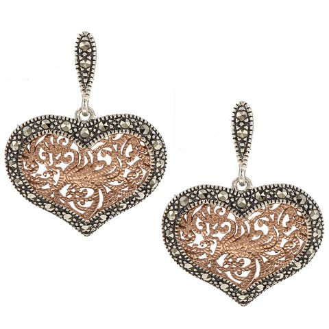 MARC Sterling Silver Marcasite Rose Gold Tone Heart Earrings