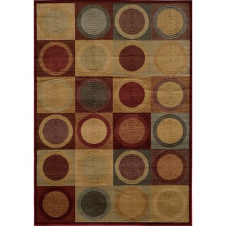Illusion Power-loomed Circles Blocks Red Rug (9'3 x 12'6)