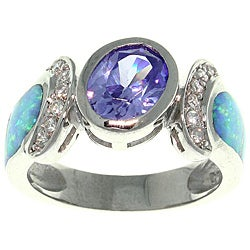 Carolina Glamour Collection Sterling Silver Created Opal and Cubic Zirconia Dramatic Style Ring